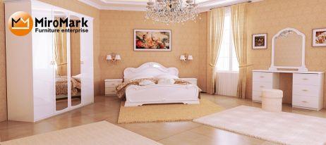 Футура Спальня з шафою 4 дв. Білий глянець Міромарк