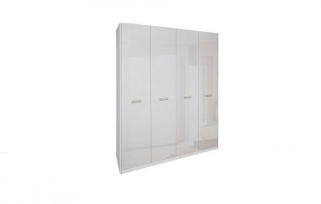 Белла Шкаф 4 дв. без зеркала Белый глянец Миромарк