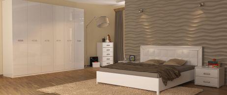 Белла Комплект спальні з шафою 6 дв. Білий глянець Міромарк