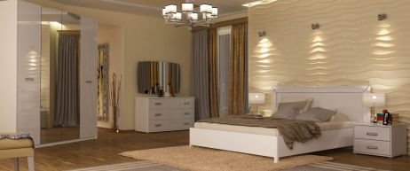 Белла Спальня Белый глянец