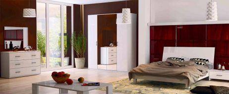 Рома Спальня з шафою 4 дв. Білий глянець Міромарк