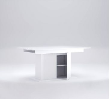 Рома Стол обеденный Раздвижной трансформер 1,5х0,9 с дверцей Белый глянец Миромарк