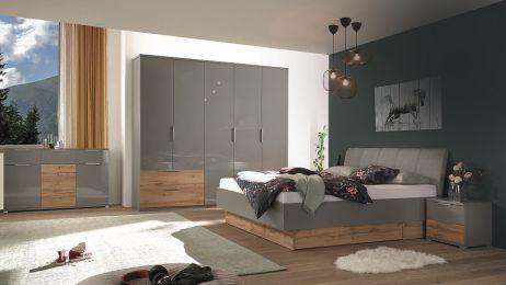 Линц Спальня со шкафом 5 дв. Серый шифер/дуб вотан Миромарк