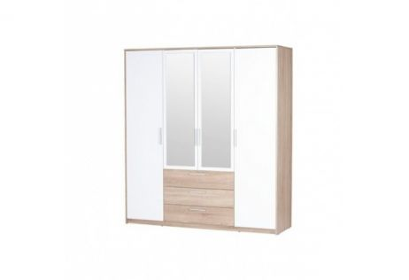 Рико Шкаф 4D3S (с зеркалом) дуб сонома/белый ВМВ Холдинг