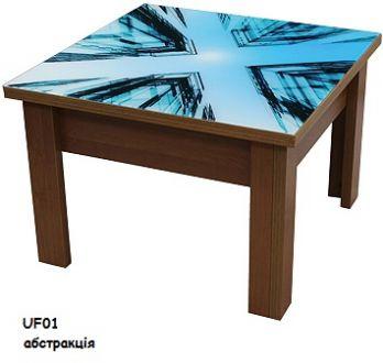 Стіл трансформер 1 з УФ друком на скляній стільниці Luxe Studio