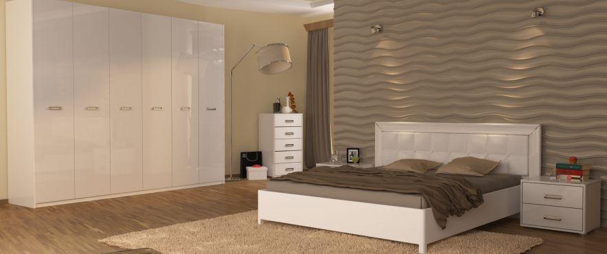 Белла Комплект спальни со шкафом 6 дв. Белый глянец Миромарк