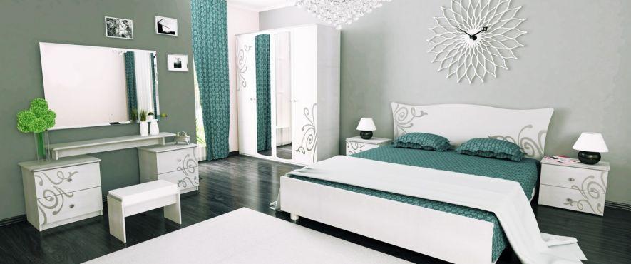 Богема Комплект спальни со шкафом 4 дв. Белый глянец Миромарк